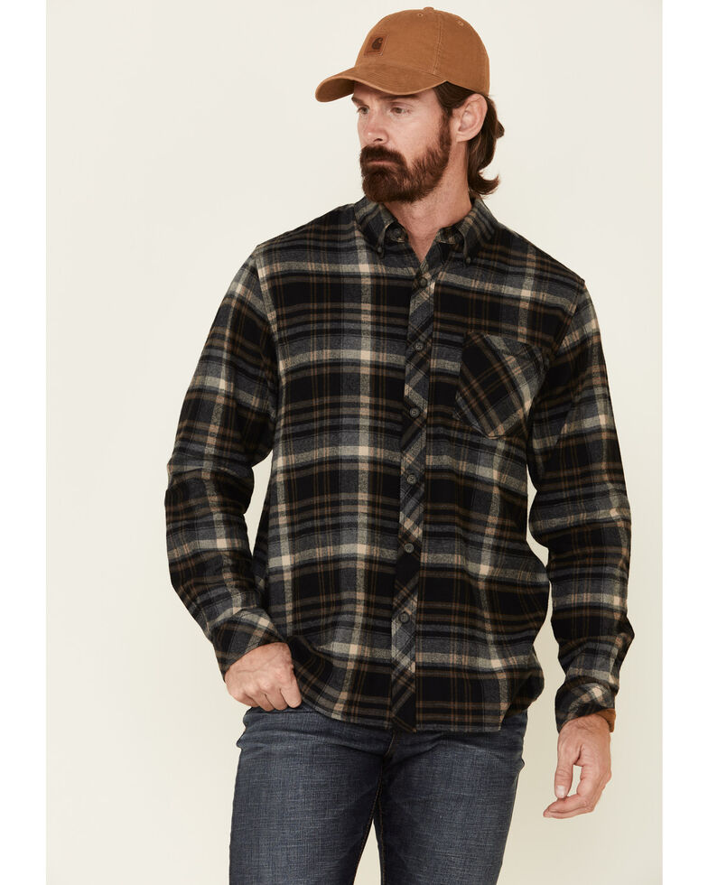 North River Men's Black Barn Plaid Long Sleeve Western Flannel Shirt , Black, hi-res