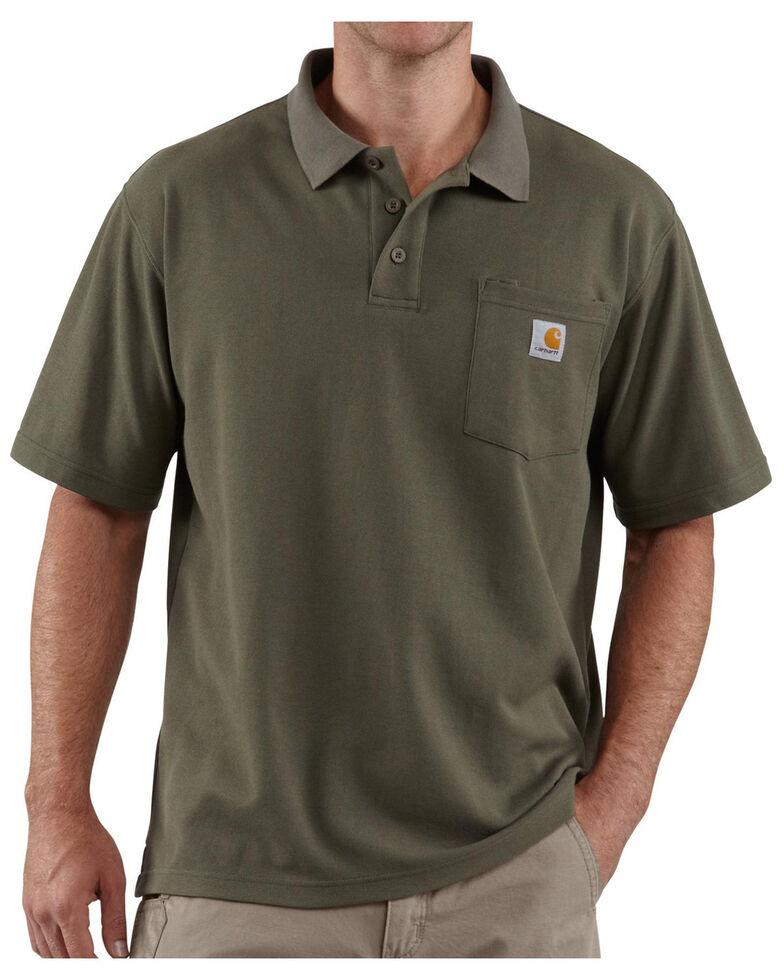Carhartt Men's Contractors Pocket Short Sleeve Work Polo Shirt, Moss, hi-res