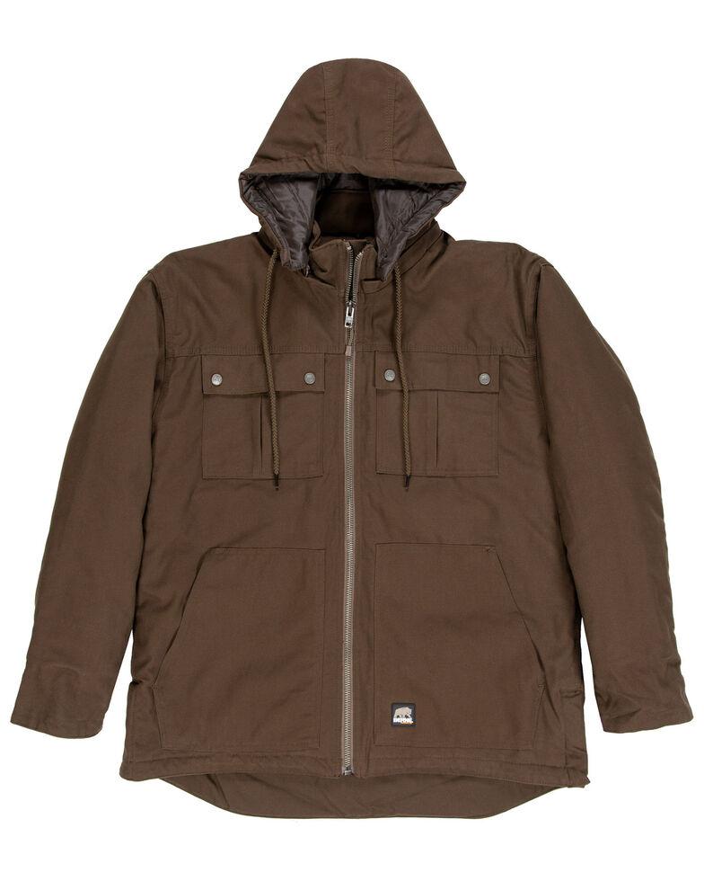 Berne Men's Brown Modern Zip-Off Hooded Work Chore Coat , Brown, hi-res