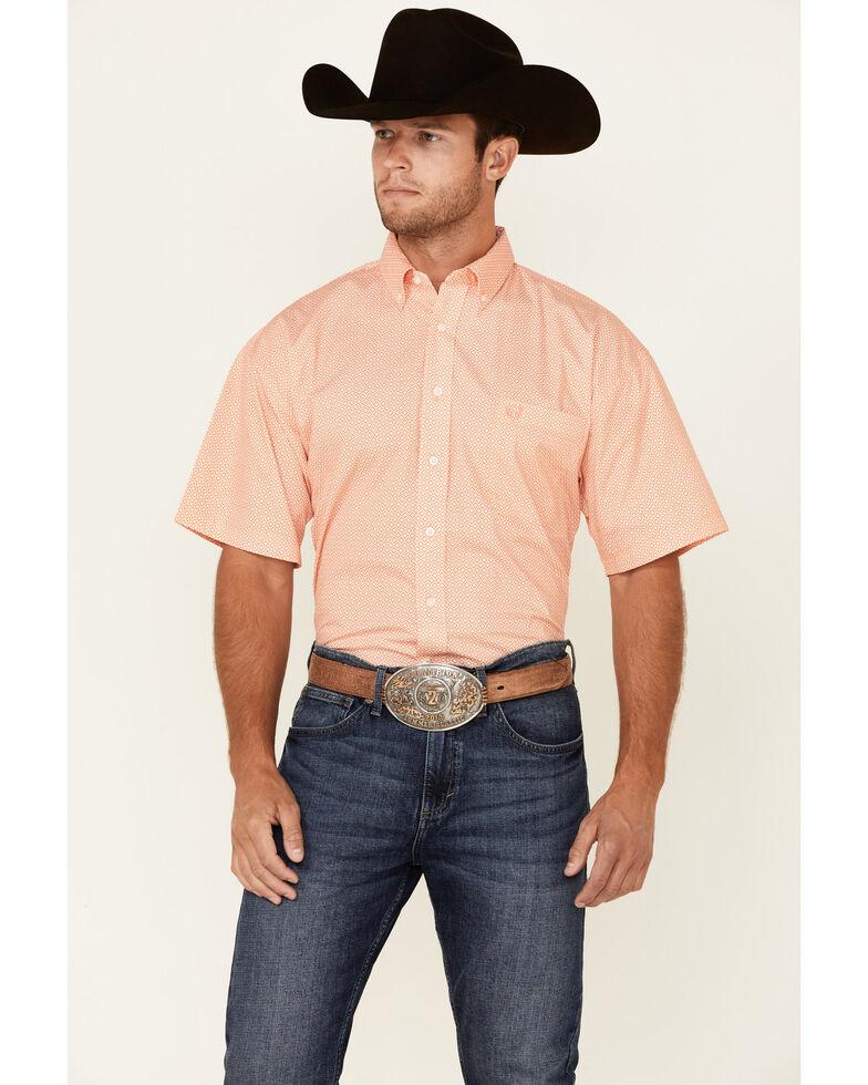 Panhandle Select Men's Orange Geo Print Short Sleeve Button-Down Western Shirt , Orange, hi-res