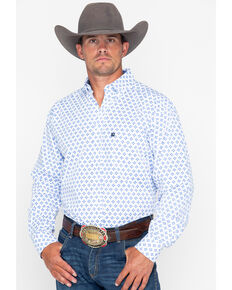 Tuf Cooper Men's Competition Stretch Poplin Long Sleeve Shirt, Blue/white, hi-res