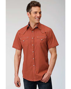 West Made Men's Solid Orange Poplin Long Sleeve Western Shirt , Orange, hi-res