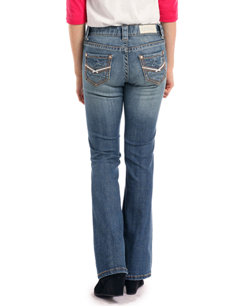 Rock & Roll Cowgirl Girls' Light Vintage Wash Crossing Denim Jeans - Boot Cut, Light Blue, hi-res