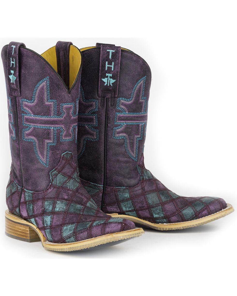 Tin Haul Women's Chevron Eagle Sole Cowgirl Boots - Square Toe, Purple, hi-res