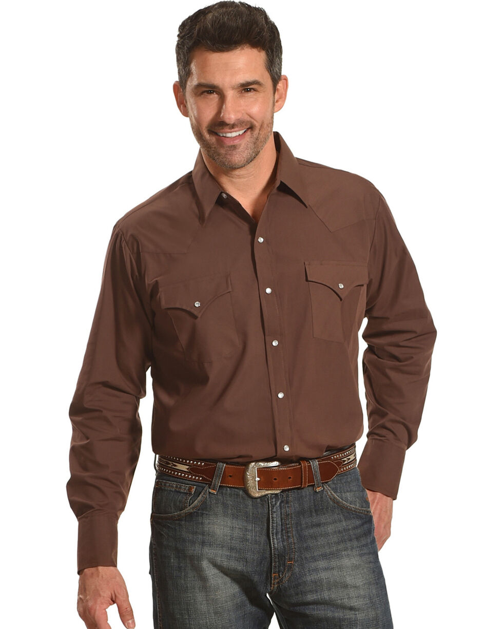Ely Cattleman Men's Brown Long Sleeve Solid Shirt , Brown, hi-res