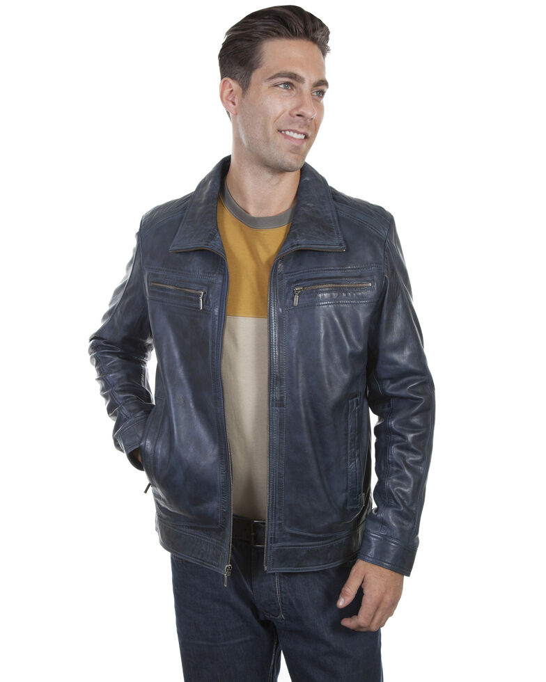Scully Men's Denim Lamb Leather Retro Jacket, Indigo, hi-res