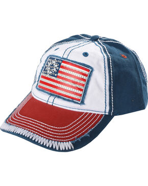 Shyanne Women's Aztec Flag Cap, Red/white/blue, hi-res