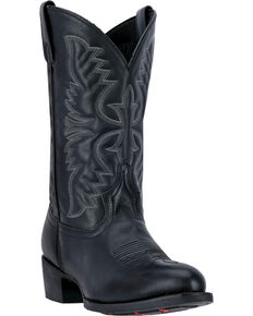 Laredo Men's Embroidered Round Toe Western Boots, Black, hi-res