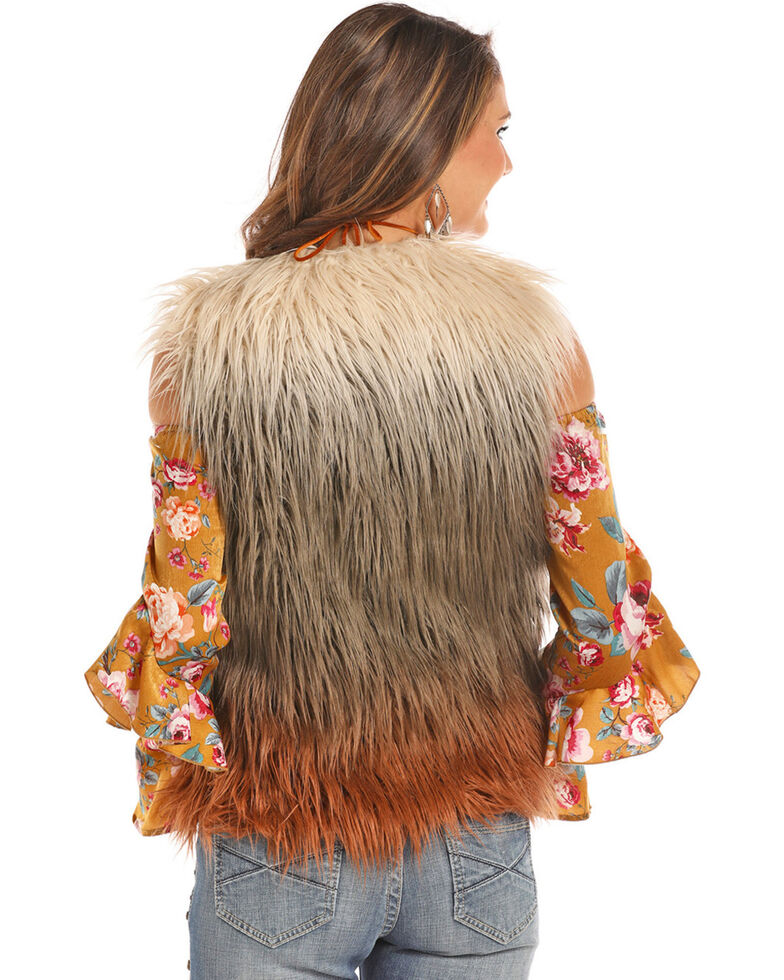 Powder River Outfitters Women's Ombre Fringe Front Fur Vest, Multi, hi-res
