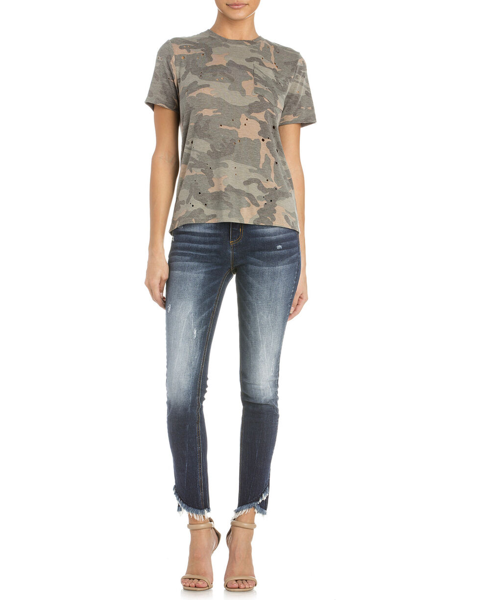 Miss Me Women's At Ease Lace-Up Tee, Camouflage, hi-res