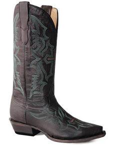 Roper Women's Waxy Brown Western Boots - Snip Toe, Tan, hi-res