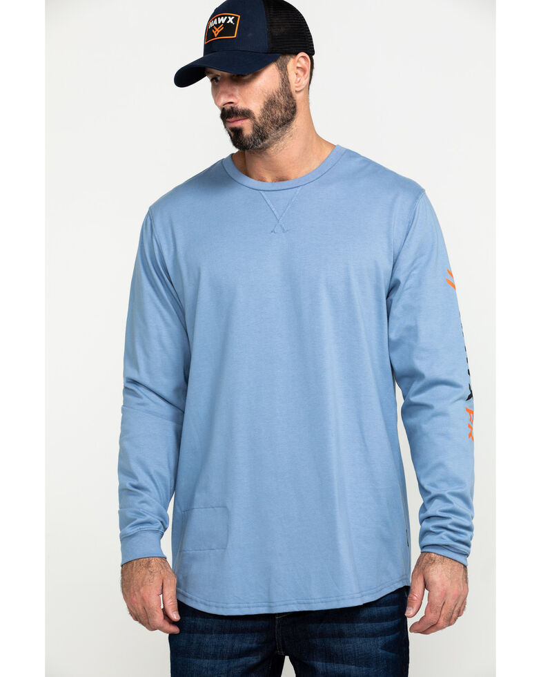 Hawx Men's Flame Resistant Logo Long Sleeve Work T-Shirt , Blue, hi-res