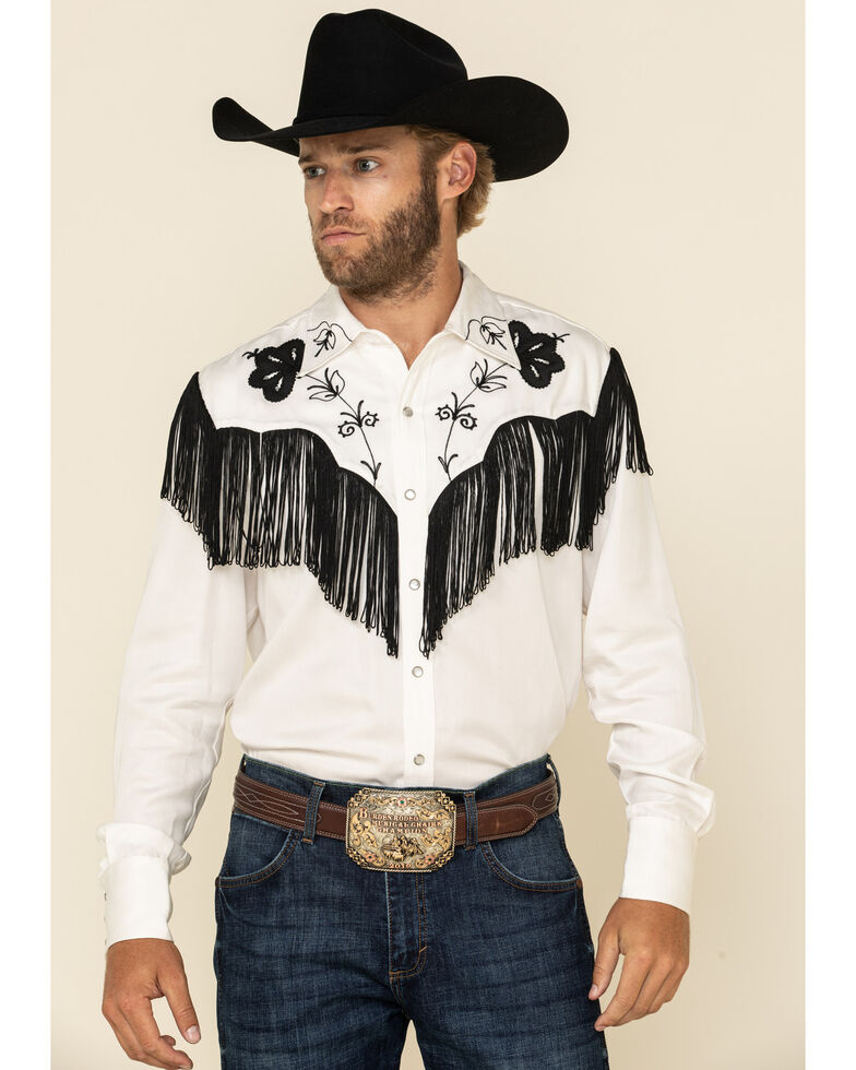 Hbarc Ranchwear Men's White Taos Long Sleeve Western Shirt , White, hi-res