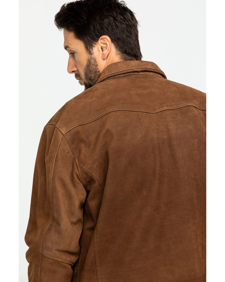 Cripple Creek Men's Roan Storm Flap Nubuck Lamb Leather Jacket , Dark Brown, hi-res