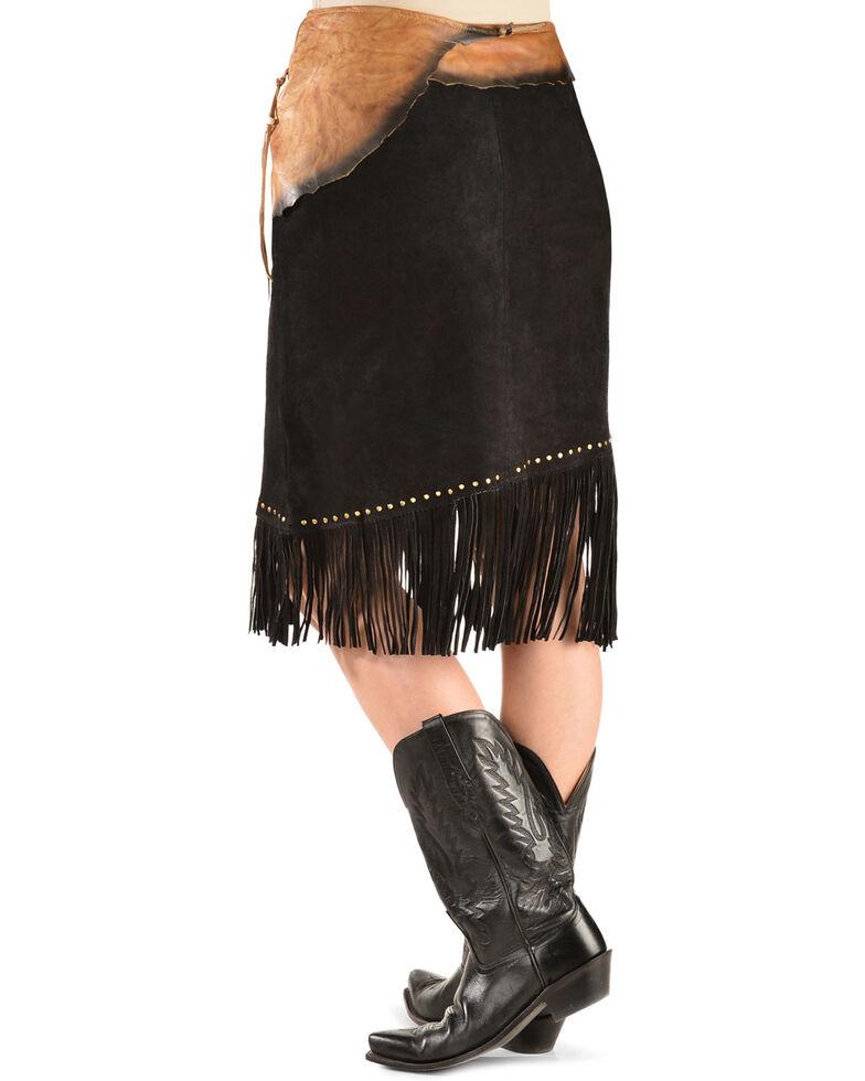 Kobler Leather Women's Leather & Fringe Sioux Suede Skirt, Black, hi-res