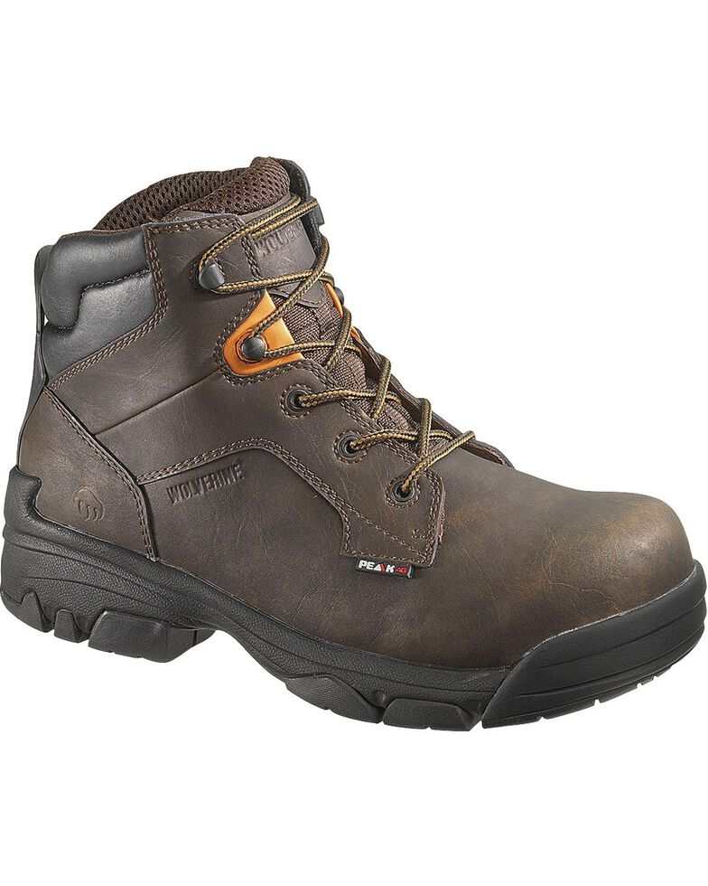 Wolverine Men's Merlin Waterproof Composite Toe Work Boots, Brown, hi-res