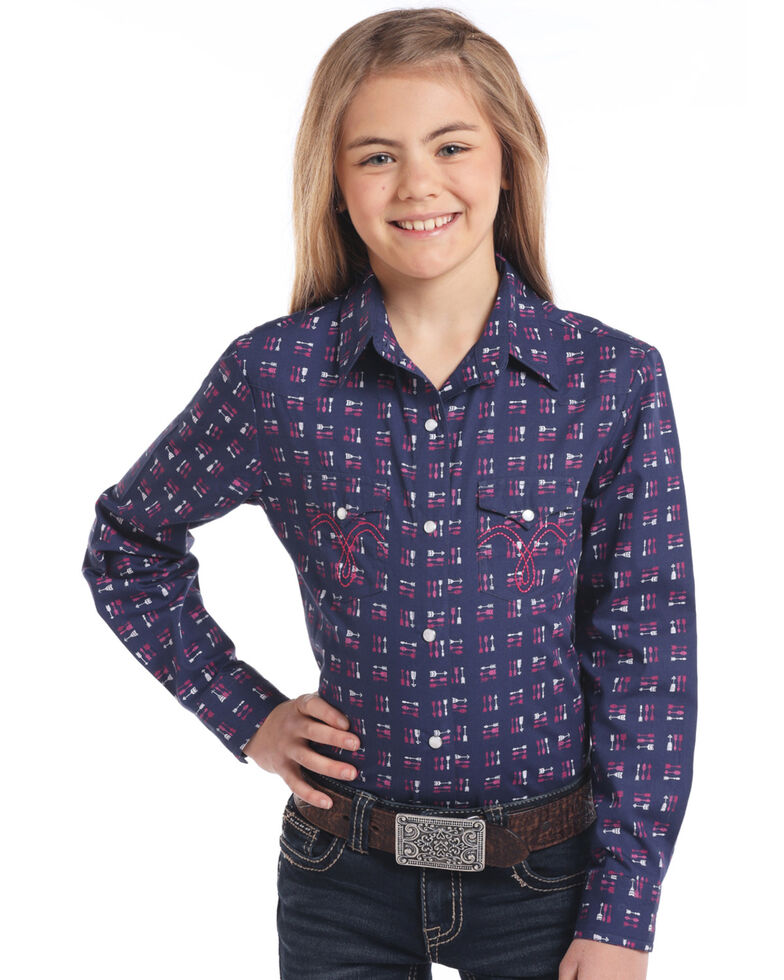 White Label by Panhandle Girls' Navy Arrow Long Sleeve Western Shirt, Navy, hi-res