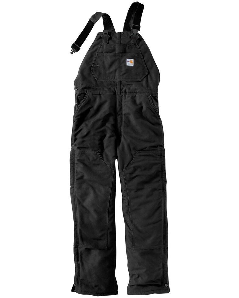 Carhartt Men's Flame Resistant Duck Overalls, Black, hi-res