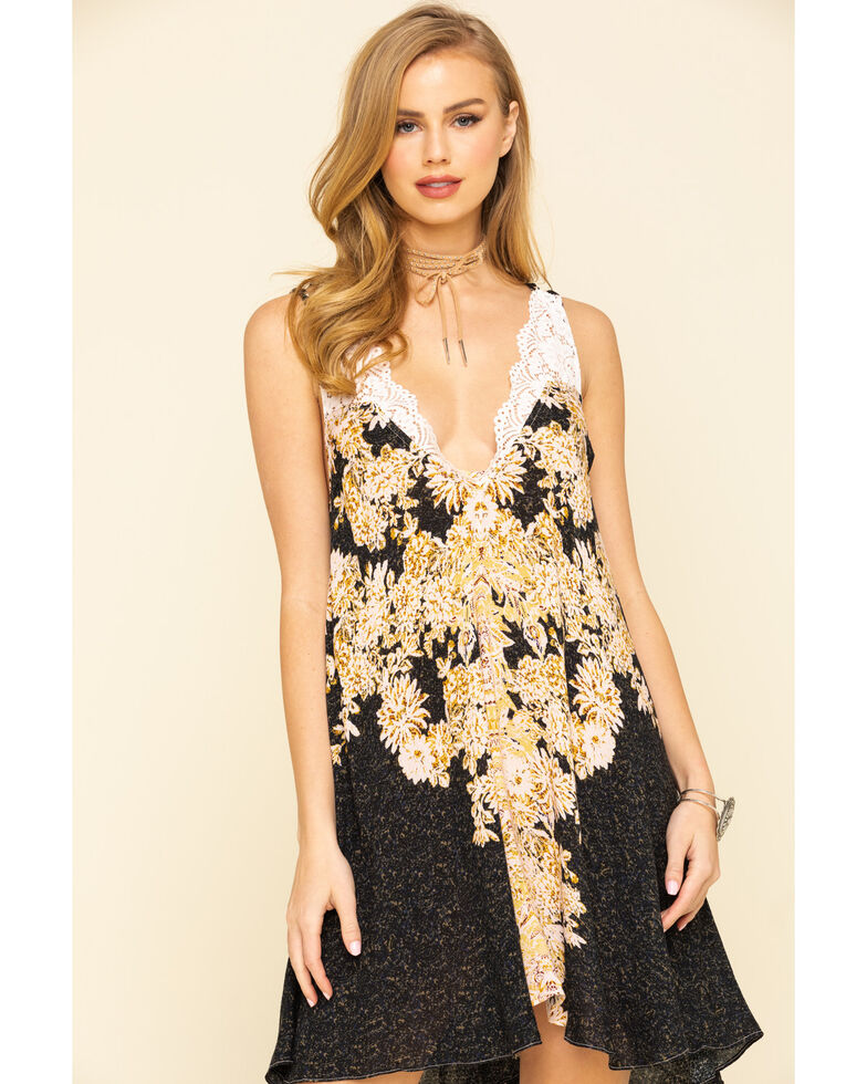 Free People Women's Morning Sun Slip Dress, Black, hi-res