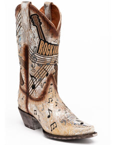 Dan Post Women's Rock & Roll Western Boots - Snip Toe, Silver, hi-res