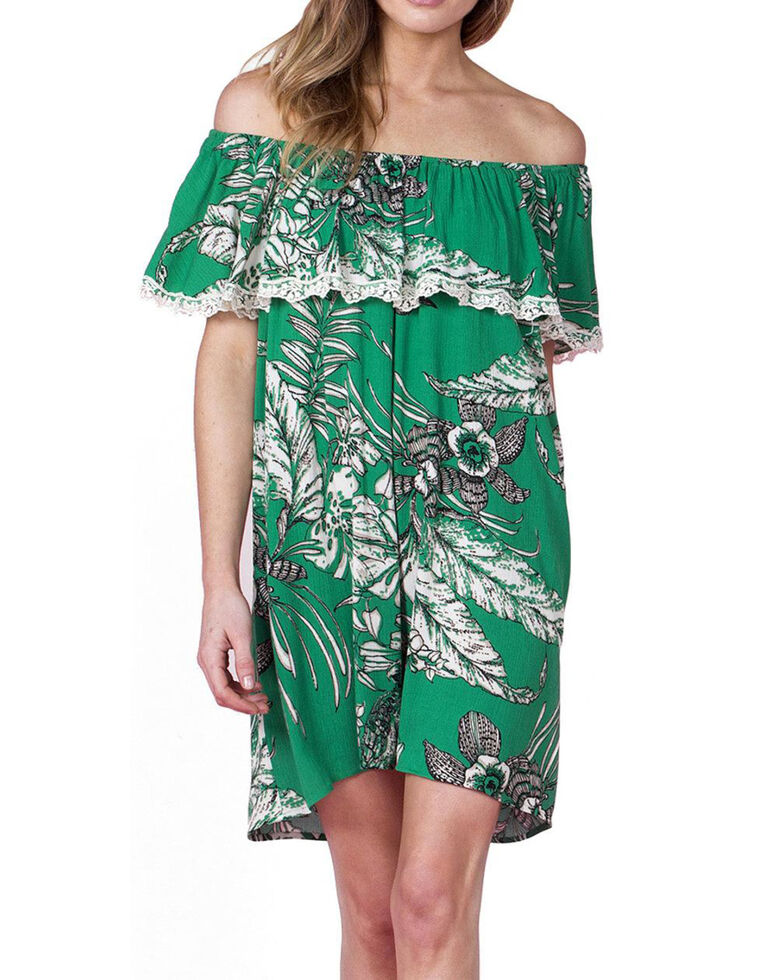 Miss Me Women's Green Off Shoulder Floral Print Dress , Green, hi-res