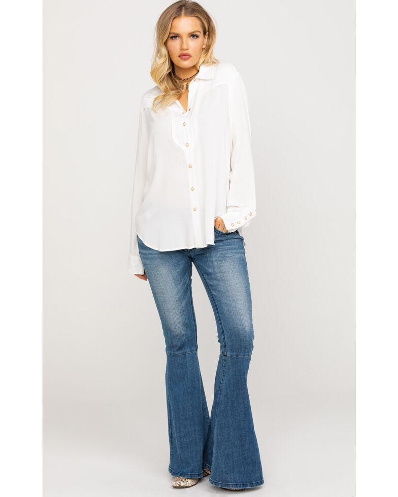 Ariat Women's Ivory Ride Um Long Sleeve Western Shirt, White, hi-res