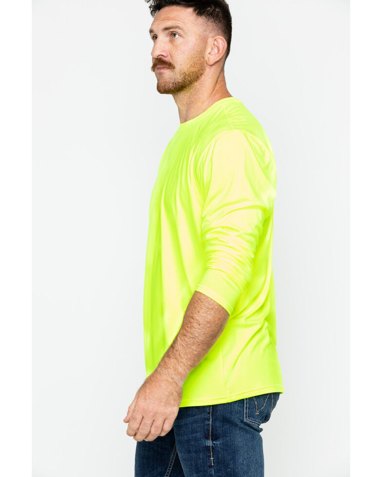 Hawx Men's Long Sleeve Color-Enhanced Cooling Work Tee , Yellow, hi-res