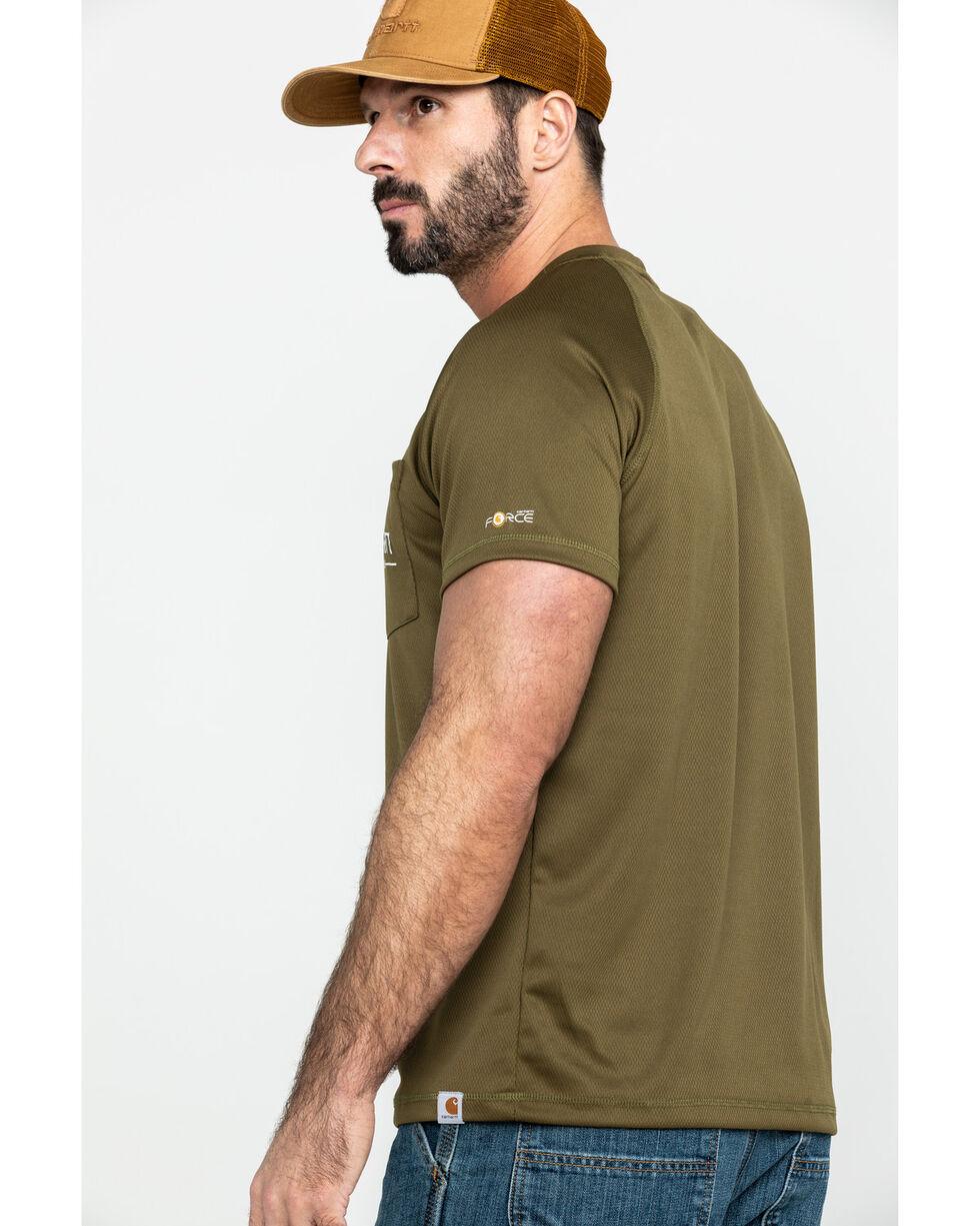 Carhartt Men's Olive Force Birdseye Graphic Short Sleeve Work T-Shirt - Big , Olive, hi-res