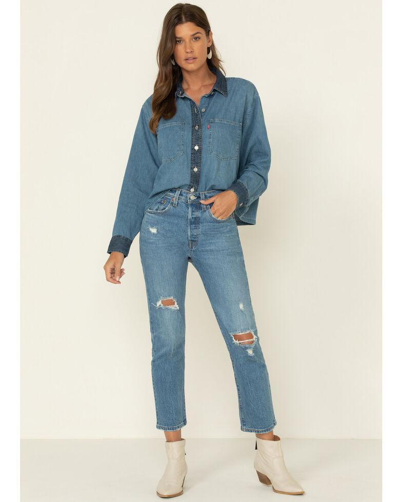 Levi's Women's Denim Puff Long Sleeve Crop Western Shirt, Light Blue, hi-res