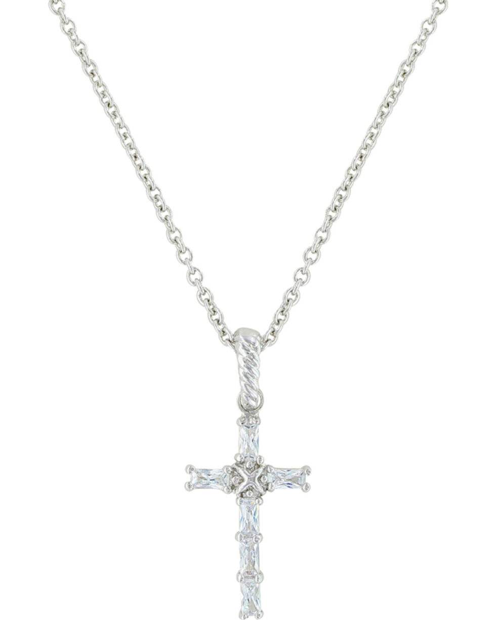 Montana Silversmiths Women's Acadian Cross Necklace, Silver, hi-res