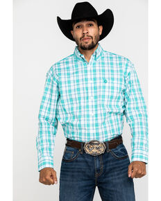 George Strait By Wrangler Men's Green Med Plaid Short Sleeve Western Shirt - Tall , Green, hi-res