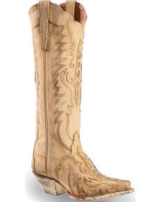 "Dan Post Women's Rustic Bone Overlay 15"" Western Boots - Snip Toe, Cream, hi-res"