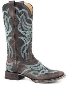 Stetson Women's Brown Reese Distressed Cowgirl Boots - Square Toe , Brown, hi-res
