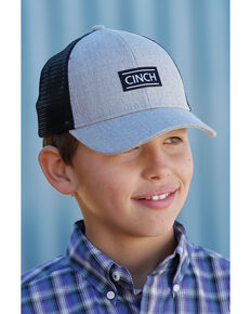 Cinch Boys' Mesh Back Trucker Cap , Heather Grey, hi-res