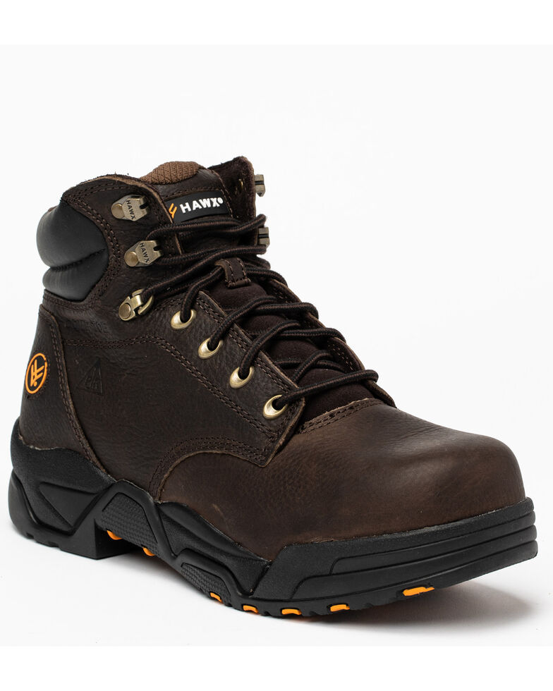 Hawx Men's Chocolate Blucher Work Boots - Composite Toe, Brown, hi-res