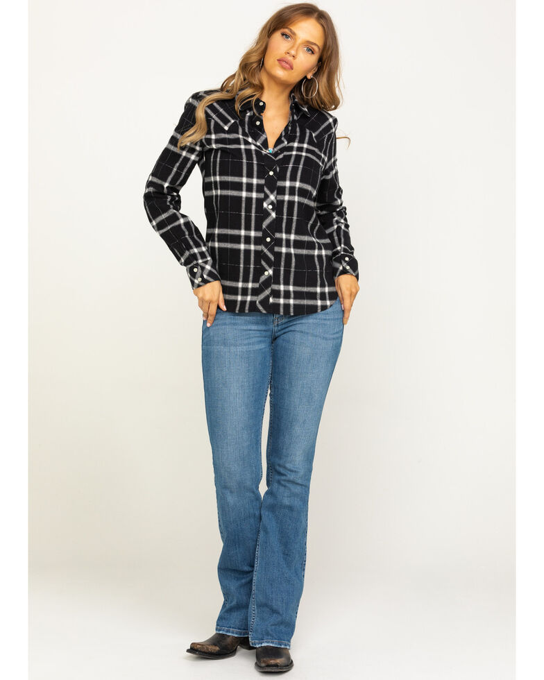 Idyllwind Women's Stay Awhile Black Flannel Shirt, Black, hi-res