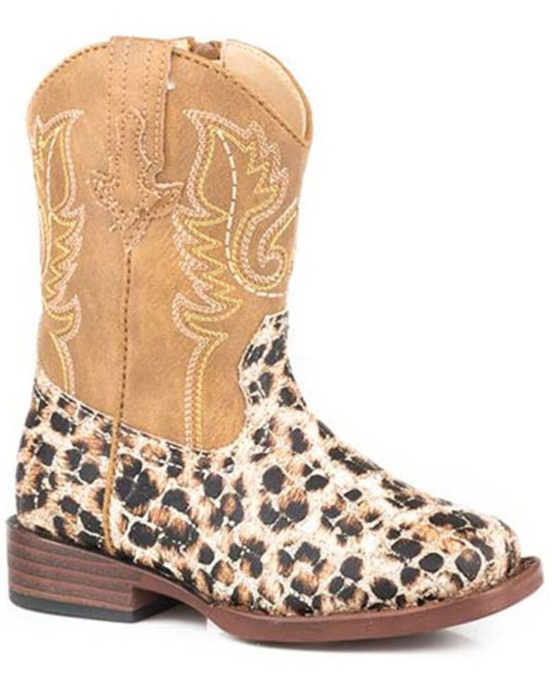 Roper Toddler Girls' Glitter Leopard Western Boots - Square Toe, Tan, hi-res