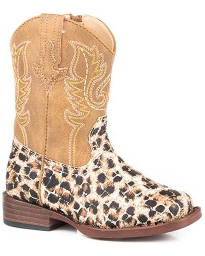 Roper Toddler Girls' Glitter Leopard Western Boots - Square Toe, Tan, hi-res