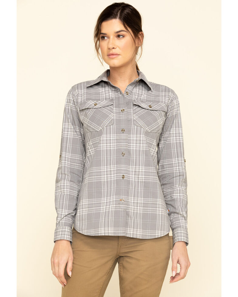Carhartt Women's Asphalt Rugged Flex Plaid Long Sleeve Work Shirt , Grey, hi-res