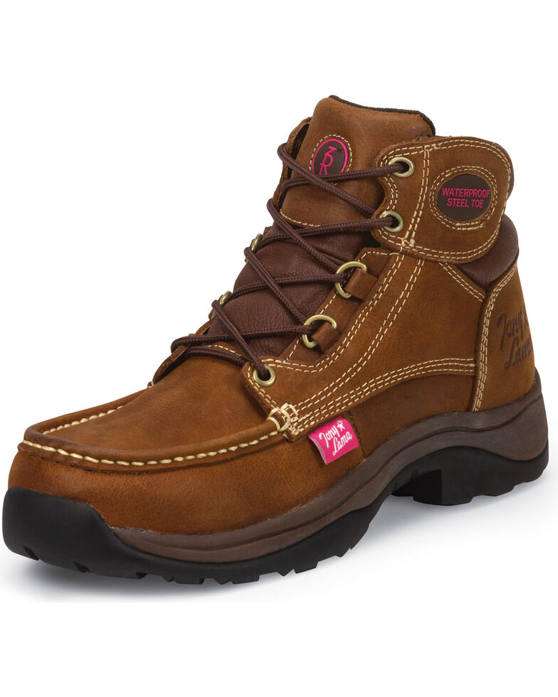 Tony Lama Women's Saddle Tan Tonk 3R Casual Waterproof Steel Toe Work Boots, Brown, hi-res