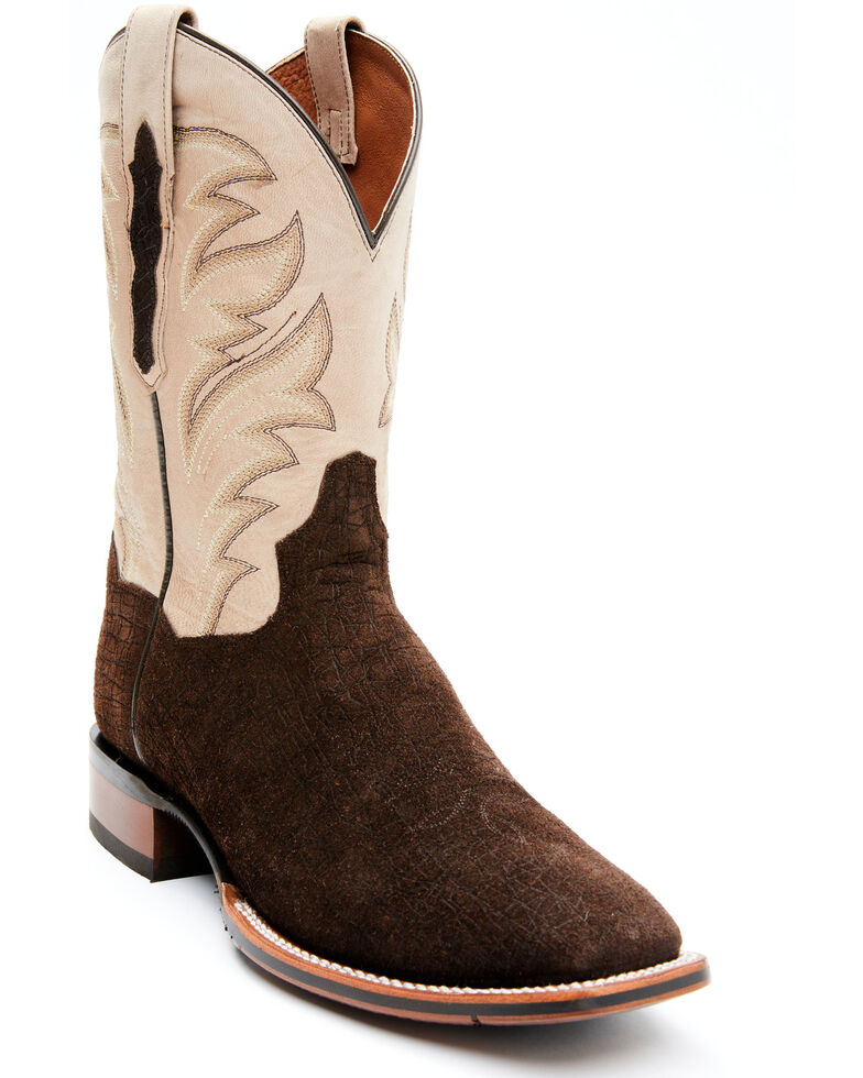 Dan Post Men's Hippo Print Western Boots - Wide Square Toe, Chocolate, hi-res
