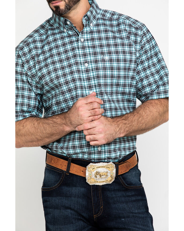 Ariat Men's Klamath Stretch Small Plaid Short Sleeve Western Shirt - Big , Multi, hi-res