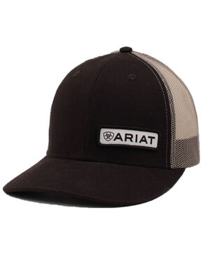 Ariat Men's Black Offset Patch Cap, Black, hi-res