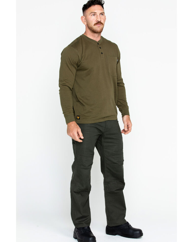 Hawx Men's Pocket Henley Long Sleeve Work Shirt , Olive, hi-res