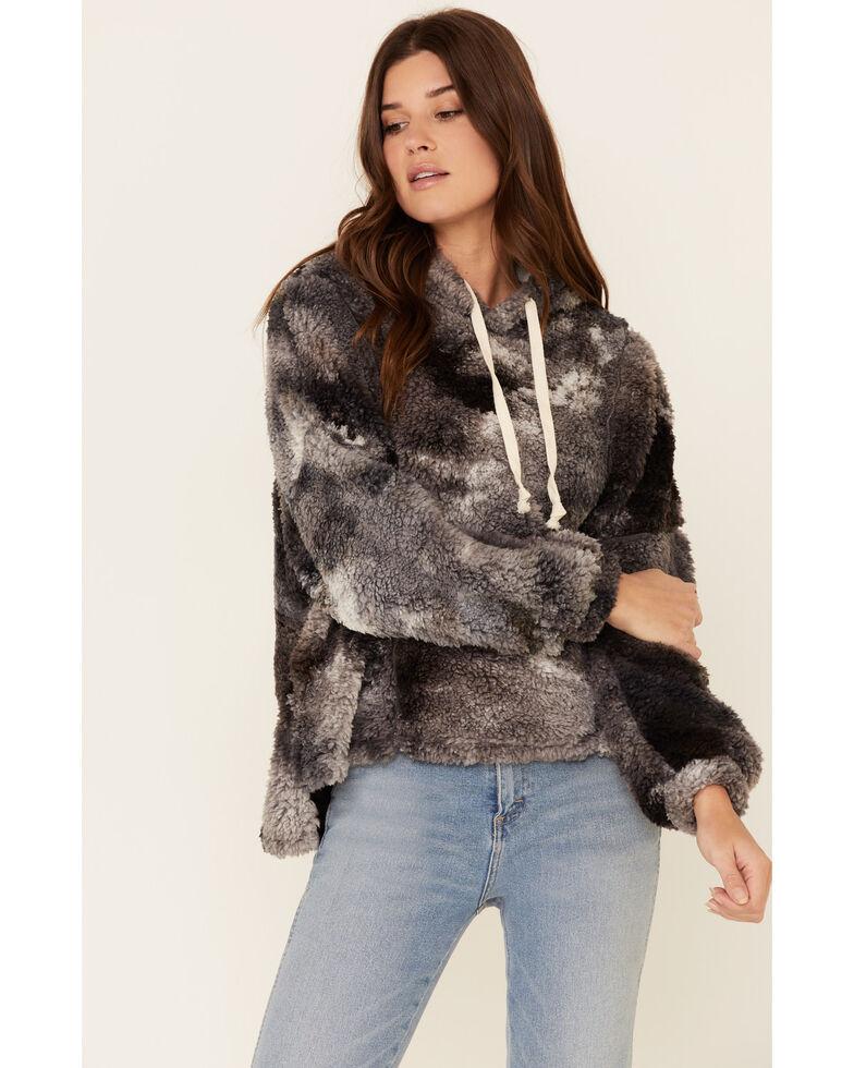 Peach Love Women's Tie Dyed Sherpa Hooded Sweatshirt , Black, hi-res