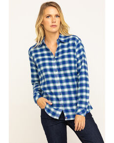Dickies Women's Plaid Long Sleeve Flannel Shirt, Blue, hi-res