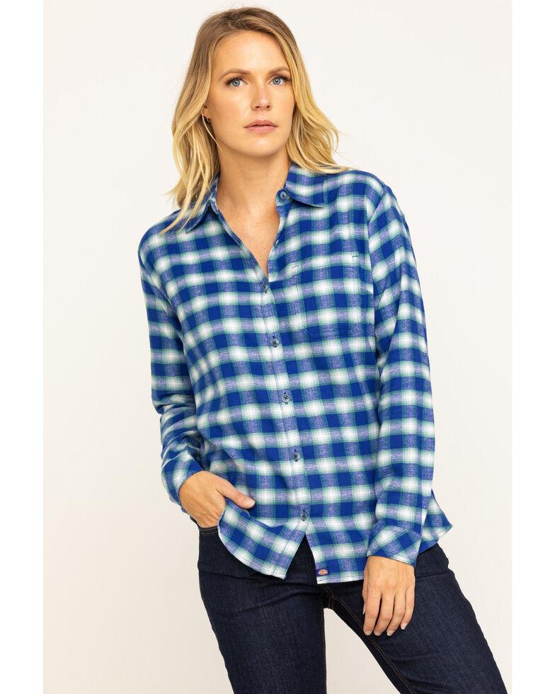 Dickies Women's Plaid Long Sleeve Flannel Shirt, Blue, hi-res