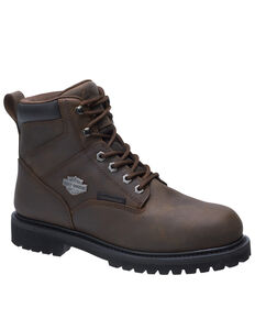 Harley Davidson Men's Gavern Waterproof Work Boots - Composite Toe, Brown, hi-res