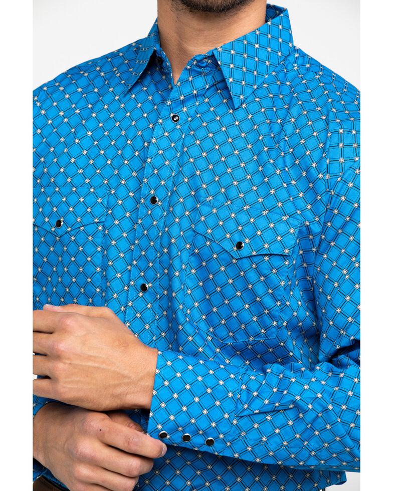 Wrangler Men's Silver Edition Blue Geo Print Long Sleeve Western Shirt , Blue, hi-res