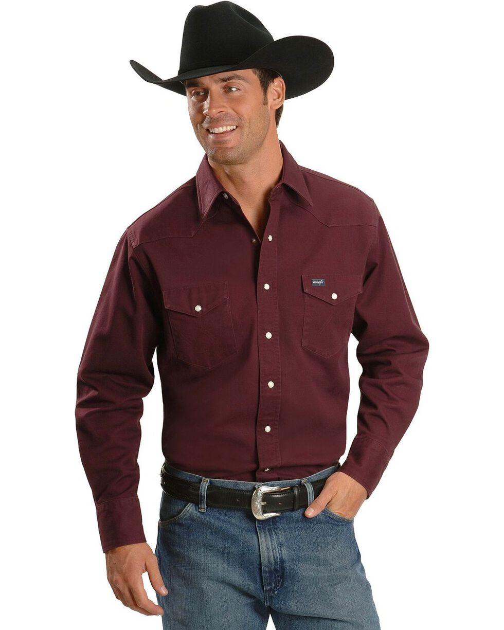 Wrangler Men's Cowboy Cut Firm Finish Long Sleeve Work Shirt, Burgundy, hi-res